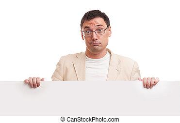 Man showing blank white billboard sign