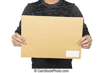 Man showing brown envelope