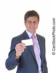 Man showing business card.