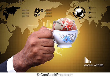Man showing Concept of global business in tea cup