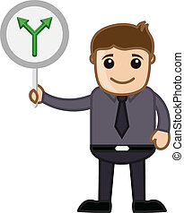 Man Showing Direction Board Vector