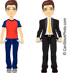 Attractive young man in two different outfit styles showing empty pockets concept