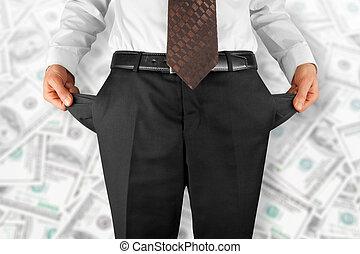 man showing empty pockets - bankrupt business man showing...