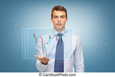 man showing forex chart on the palm of his hand