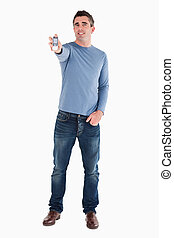 Man showing his cellphone