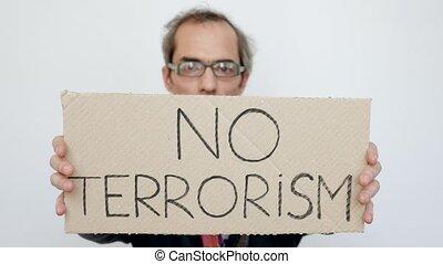 Man Showing No Terrorism Tablet - Crying Man Showing No...