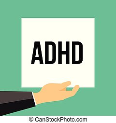 Man showing paper ADHD text