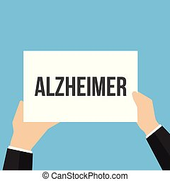 Man showing paper ALZHEIMER text. Vector Flat Illustration