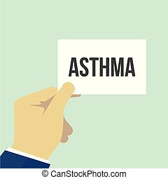 Man showing paper ASTHMA text