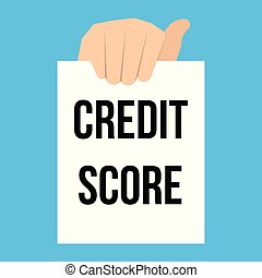 Man showing paper CREDIT SCORE text