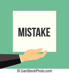 Man showing paper MISTAKE text. Vector Flat Illustration
