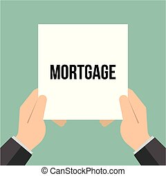 Man showing paper MORTGAGE text