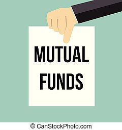 Man showing paper MUTUAL FUNDS text. Vector illustration