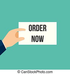 Man showing paper ORDER NOW text