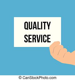 Man showing paper QUALITY SERVICE text. Vector Illustration