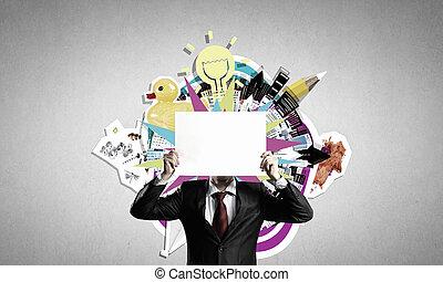 Man showing paper sheet
