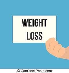 Man showing paper WEIGHT LOSS text. Vector Flat Illustration