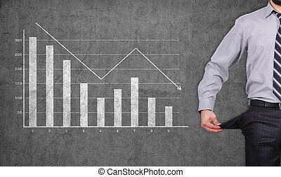 businessman showing empty poket and falling chart on wall