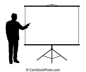 Man showing presentation on projection screen