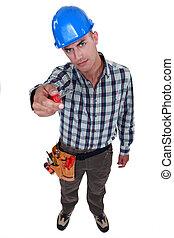Man showing screwdriver