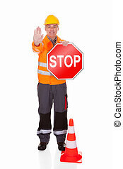 Man Showing Stop Sign Over White Background