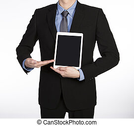 man showing tablet