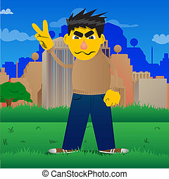 Man showing the V sign. - Yellow man showing the V sign. ...