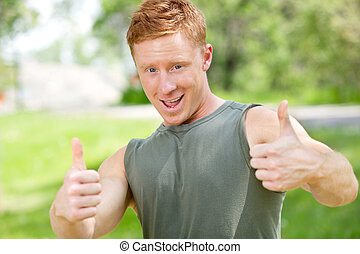Man showing thumbs-up sign