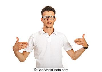 Man showing to blank t-shirt