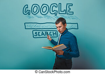 man shows a pointer to search Google holding a book ...