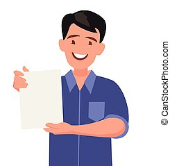 Man shows a sheet with the contract.