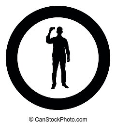 Man shows card in his hand Business card in hand businessman silhouette icon black color illustration in circle round