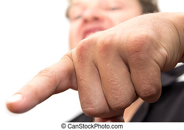 man shows his finger on a white background