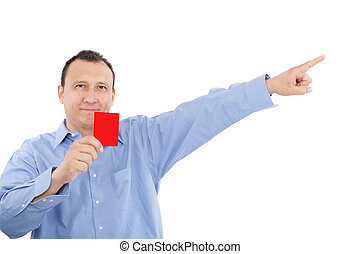 man shows someone a red card. All isolated on white ...