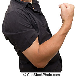 man shows strength on a white background