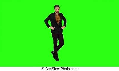 Man shows the language to others. Green screen. Slow motion