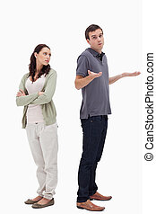 Man shrugged his shoulders back to back with angry woman...
