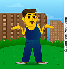 Man shrugs shoulders expressing don't know gesture. - Yellow...