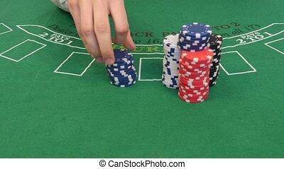 Man Shuffles Poker Chips in 4k