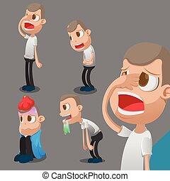 Man Sick Cartoon Character Action Vector