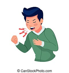 man sick with cough covid19 symptom vector illustration design