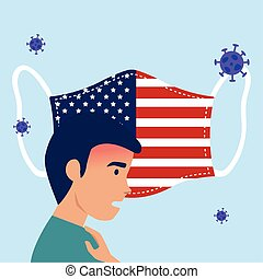 man sick with face mask usa flag covid19