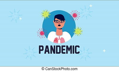 man sick with symptom and covid 19 particles,4k video animated