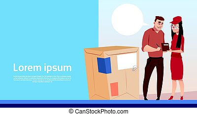 Man Sign Document Courier Woman Box Delivery Package Post Service Banner Copy Space