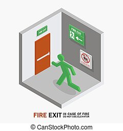 man sign run to fire exit isometric