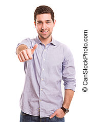 Man signaling ok - Handsome young man signaling ok, isolated...