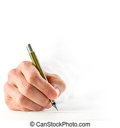 High key image with a close up view of the hand of a man in a white shirt signing a document with a fountain pen, square format conceptual image with copyspace.
