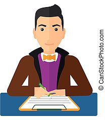 A man sitting at the table and signing a contract vector flat design illustration isolated on white background.
