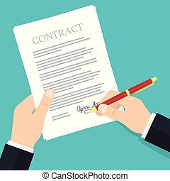 Hand signing contract.