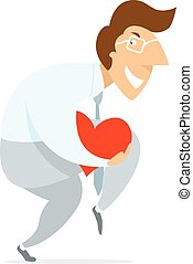 Man silently stealth walking stealing heart or love -...